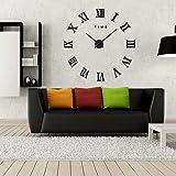 ساعة حائط ثلاثية الابعاد بحجم L بتصميم ملصقات - اسود - 016