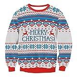 Weihnachten Pullover Unisex Sannysis Frauen Männer Weihnachten Pullover Santa Novelly Sweatshirt Bluse Weihnachtspullover Strickpullover Weihnachtspulli Jumper Oberteile (Grau, M)