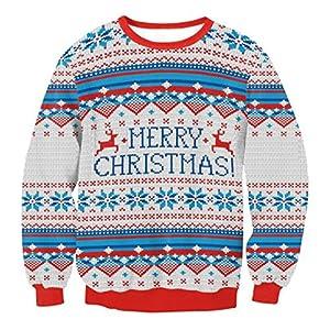 Weihnachten Pullover Unisex Sannysis Frauen Männer Weihnachten Pullover Santa Novelly Sweatshirt Bluse Weihnachtspullover Strickpullover Weihnachtspulli Jumper Oberteile