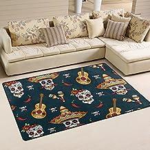 coosun mexicano calavera patrón área alfombra alfombra alfombra de suelo antideslizante Doormats para salón o dormitorio, 31x 20cm, tela, multicolor, 60 x 39 inch