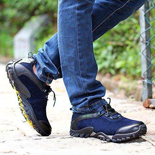 chaussure sportif Sneakers Derbies Suede moitié tige l'hiver Hommes chaussures de course Bleu