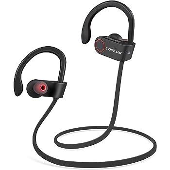 TOPLUS Ecouteur Bluetooth 4.1 - Casque de Sport Oreillette sans Fil Stéréo Compatible avec Apple iPhone, Android, Windows Smartphone et Autres Appareils Bluetooth (Noir)
