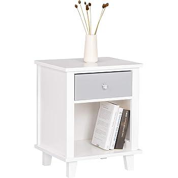 Nachttisch HILPA Weiß Nachtschränkchen Nachtkonsole Beistelltisch Landhausstil