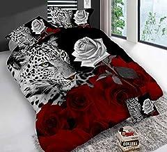 Idea Regalo - 3D leopardo rosa bianco e rosso set biancheria da letto floreale stampe 4PIECE copripiumino matrimoniale piumino set di copertura