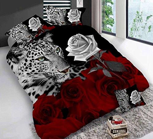 3D Leopard Weiß und Rot Rose Bettwäsche-Set Floral Prints 4Piece Bettbezug Größe Tröster Set für Doppelbett (Rose Floral Bettwäsche-set)