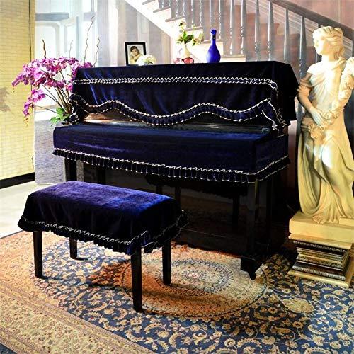3er-Set Klavier Staub Abdeckung,Tastatur Staubabdeckung Und Double Einzelne Hocker Abdeckung, Fringed Trim-e Top + Schlüssel + Doppelhocker Abdeckung -