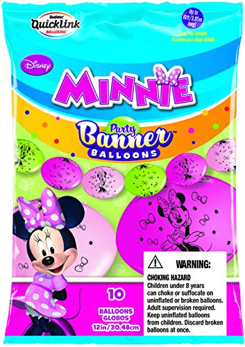 Globos de látex Qualatex 13779 Disney Minnie Mouse pancarta decorativa para fiesta, 30,5 cm
