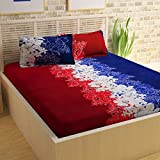 Story@Home Candy 120 TC Cotton Double Bedsheet with 2 Pillow Covers - Royal Blue