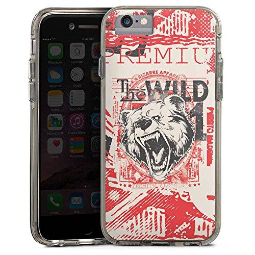 Apple iPhone 6s Plus Bumper Hülle Bumper Case Glitzer Hülle Baer Tier Animal Bumper Case transparent grau