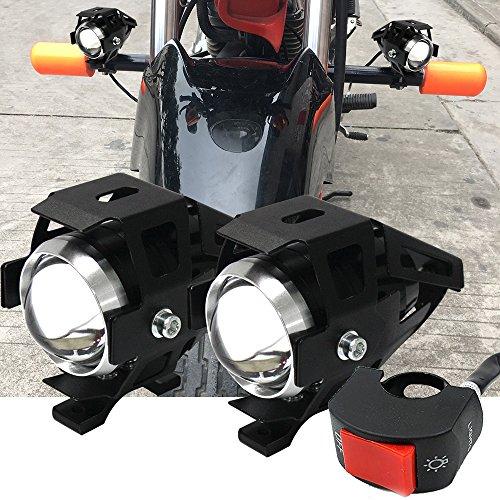 2X Moto LED Phares Avant U5 CREE Spot Brouillard Feux Additionnels 3000LM avec Interrupteur Etanche 30W 6000K Xénon Blanc Pour Moto Quad Scooter