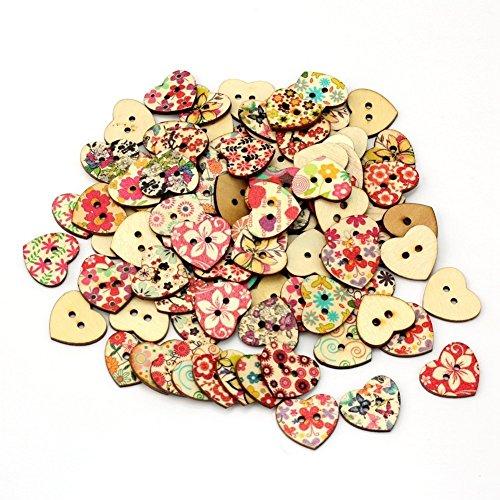 Yaxitu 100pcs 2 Trous en forme de coeur boutons colorés en bois pour l'artisanat et la couture