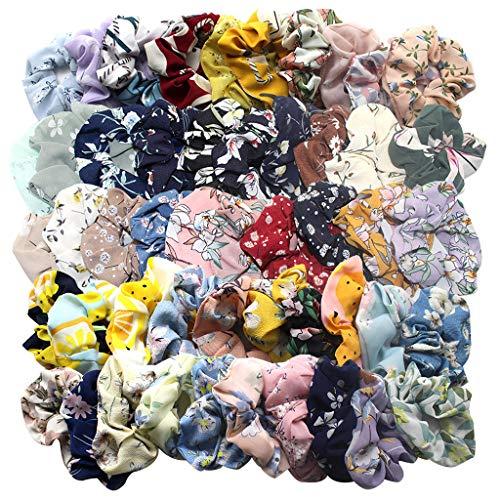 Deng xuna 50 pz capelli scrunchies nastri fasce per capelli in chiffon stampato, morbido accessori per capelli ondulati corda per capelli per donne o ragazze
