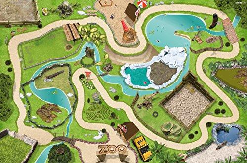 *Stikkipix Tierpark Spielteppich | SM04 | Hochwertige Zoo Spiel-Matte für das Kinder-Zimmer | ideales Zubehör zu Spiel-Figuren von Schleich, Playmobil, Papo, Bullyland & Co | 150 x 100 cm*