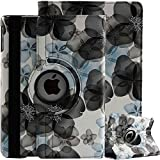 TGK® Flower Print Design 360 Degree Rotating PU Leather Case Cover Stand for New iPad (6th Generation) 9.7 inch (2018) A1893, A1954 (Black)