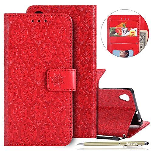 Kompatibel mit Handytasche Sony Xperia XA1 Plus Handyhülle Prägung Blumen Muster Retro Klappbar Flip Tasche Leder Tasche Brieftasche Leder Hülle Handytasche Cover Kartenfächer,Rot