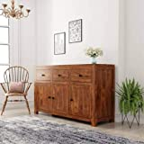 Unitek Furniture Solid Sheesham Wood Free Standing Multipurpose Storage Sideboard Cabinet with 3 Door and 3 Drawer for…