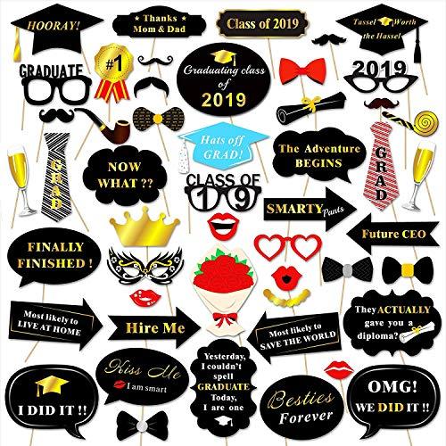 DramJing 50 Pcs Abschluss Foto Requisiten 2019,Abschlussfeier Photo Booth Props Glitter Party Zubehör für Schule