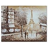 fokenzary handbemalt Ölgemälde auf Leinwand klassischen Paris Eiffel Tower View Wanddekoration gerahmt fertig zum Aufhängen - 12x16in - coffee