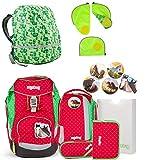 Ergobag Schulrucksack-Set 8-tlg Set GaloppBär inklusive Sicherheitsset Grün & Regencape Grün