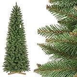 FairyTrees Weihnachtsbaum künstlich Slim, Fichte Natur, grüner Stamm, Material PVC, inkl. Holzständer, 220cm