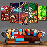 HY.Bohu wall decor Abstract Photo Wall Modular 5 Pieces Picture For Living Room Cartoon Decor Frame HD Animation Poster Canvas Paint