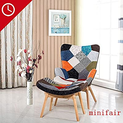 Stylish High Back Lounge Chair Fabric Recliner Armchair Chair With Wood Foot Stool - cheap UK light shop.