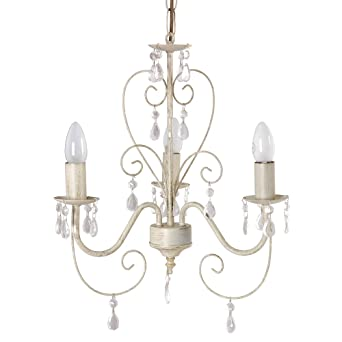 Cream Ornate Vintage Style Shabby Chic 3 Way Ceiling Light Chandelier With  Beautiful Acrylic Jewels: Amazon.co.uk: Lighting
