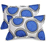 Ahmedabad Cotton 2 Pcs Cotton Pillow Cover Set - White, Blue