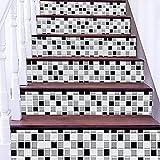 BAI Adesivo Per Scale Adesivi Murali Fai Da Te 3D Mosaico Stampa RISTRUTTURATO Eco-friendly PVC Sfondo Murale Arte Decorazioni Per La Casa Removibile Facile Da Applicare 1 Set (6 Pezzi)