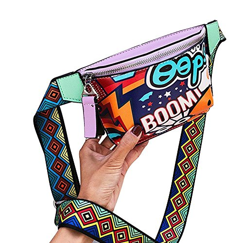 Leegoal Freestyle Street Graffiti Schulter Messenger Tasche, Hip-Hop Persönlichkeit Druck Fashion Mini Phone Bag, Violett (Freestyle Messenger)