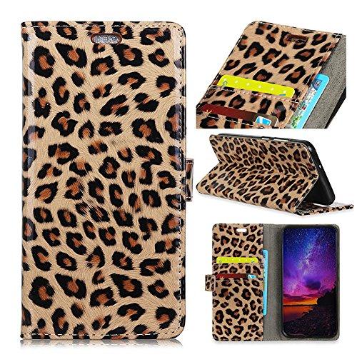 casefirst iPhone 9 Plus PU Leder Tasche Handycover [Kartenfach] [Standfunktion] Ultra Dünn Flip Case Schutzhülle Slim Ledertasche Schutzhülle für iPhone 9 Plus (Leopard)