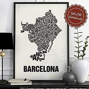Barcelona Buchstabenort Schwarz auf Naturweiß