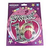 Age 16 Girl Giant Birthday Party Mega Badge 14.5cm x 14.5cm - 16th Birthday by Card and Party Store