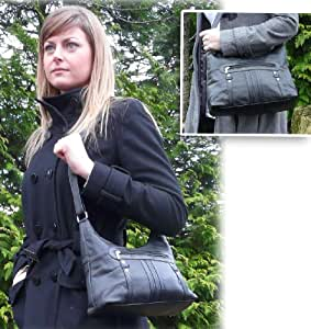 Large Soft Real Leather Ladies Black Shoulder Bag (1067) Beautifully designed from luxurious soft Nappa leather.