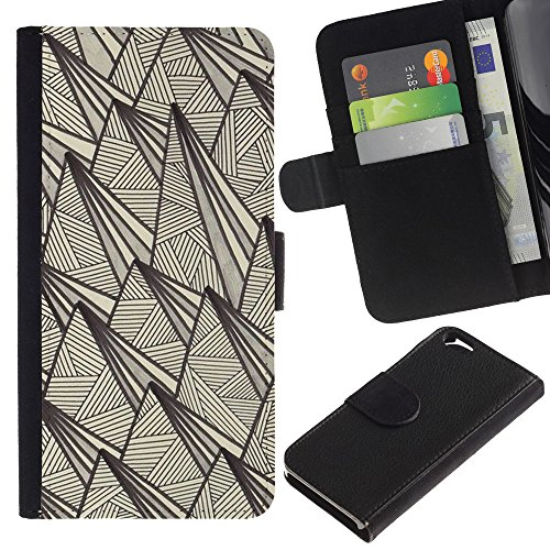 Paccase / Portafoglio del Cuoio di vibrazione del Titolare della carta Custodia per - art deco vintage retro wallpaper beige - Apple Iphone 6 4.7