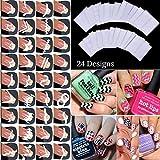 Vinciann 24 Fogli Lunette adesive Guide Decorazione unghia Unghie Manicure Nail Art