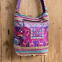 2cd1b31c4 Changnoi Hippie Crossbody Bag with Elephant Embroidered in Purple, Fair  Trade Boho Sling Bag from