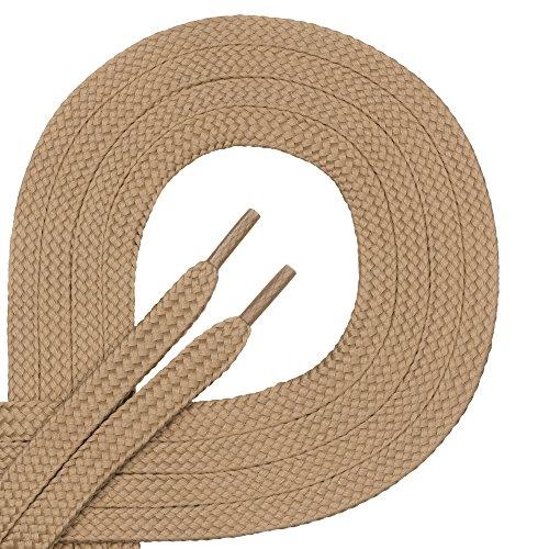 Di Ficchiano, 1 paio di lacci per scarpe, di alta qualità in poliestere, antistrappo, piatti, larghi circa 7,0 mm, 27 colori, lunghezza 60 - 200 cm, Beige (marrone chiaro), 180 cm