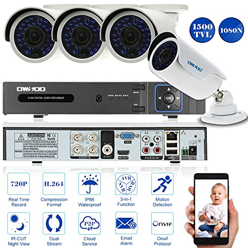 OWSOO CCTV Überwachung DVR Security System HDMI P2P Cloud Onvif Netzwerk Digital Video Recorder + 4 * 720P Outdoor/Indoor Infrarot-Bullet-Kamera + 4 * 60ft - Infrarot-system Security-kameras
