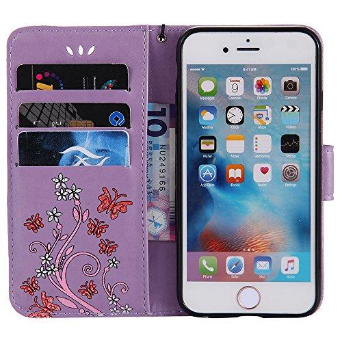 HX-435 Mit der Hand Seil iPhone 5/5S/SE Handyhülle Case für iPhone 5/5S/SE Hülle im Bookstyle,XFAY Huelle Stand Halter Magnetverschluss Schmetterling Blumen , PU Leder Flip Wallet Case Cover Schutzhül Lila