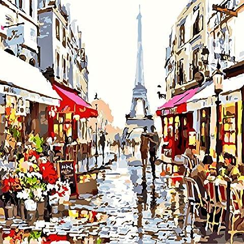 Lanlan rahmenlose Paris Street Digital Ölgemälde Deko-Bild DIY Hand bemalt, Dekoration, um verschönern Ihr Wohnzimmer, Schlafzimmer