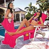 Himozoo Lounge Mate Serviette de plage en microfibre Housse de chaise Chaise longue de piscine avec poches Vacances Serviettes de bains de soleil