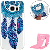 Samsung Galaxy S7 Edge Funda,Galaxy S7 Edge Bumper Case,Samsung Galaxy S7 Edge Funda Silicona de Gel TPU Cover,Ekakashop Ultra Thin Elegent Soft Transparente Defensor Flexible Carcasa para Samsung Galaxy S7 Edge,Azul Dreamcatcher + pata de cabra (color al azar)