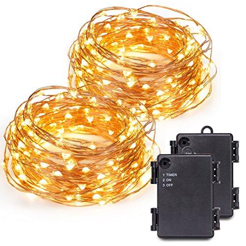 727049269a7 Kohree 2 pack de12M 120 LEDs Guinarldas de Luz Blanca Cálida Con Pilas  Decoración de Navida