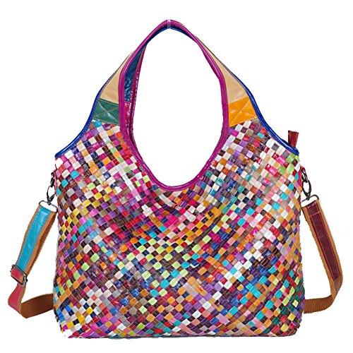 Fashion Leder Mode Damen Handtasche Leder Damentasche Schultertasche Hand bag Damentasche Tote Bag Purse Bag mit 2 Farben (Bunt)