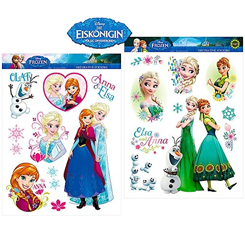 19 Mega Aufkleber Stickers - Frozen / Die Eiskönigin und Sticker von Kids4shop - fürs Fahrrad / Fensterbilder / Wandtattoo / Wandsticker / Autoaufkleber Mit 16 kleine Frozen Stickers