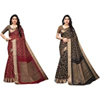 Yashika Woven Linen with blouse piece Saree (BEE RED Free Size)