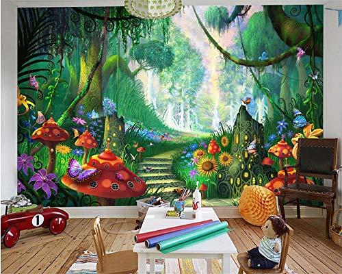 3d wallpaper mode moderne cartoon traum wörter wald bäume gras pilze spaziergang weg kinderhaus wallpaper 250x175cm