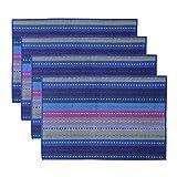 Mogoko Gewebte Tischsets aus Baumwolle, rutschfest, hitzebeständig, waschbar, für Küche, Esstisch, 4 Stück, 45,7x 30,5cm blau