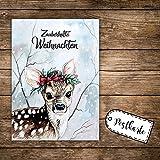 A6 Weihnachtskarte Postkarte Print Reh Rehkitz im Wald mit Spruch Zauberhafte Weihnachten pk141 ilka parey wandtattoo-welt®